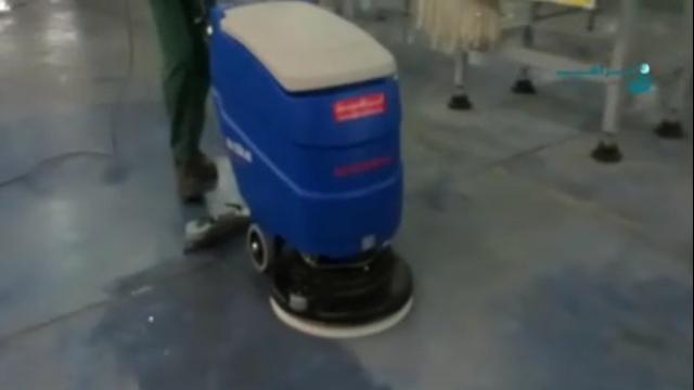 شستشوی سطوح اپوکسی با اسکرابر  - Washing epoxy surfaces with scrubbers
