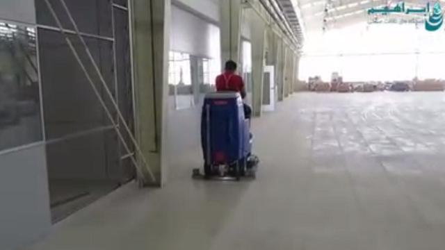 شستشوی کفپوش سوله با اسکرابر  - Washing the niches floor with a scrubber