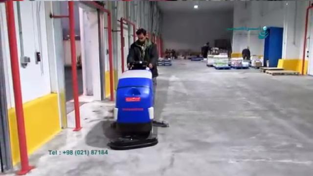 نظافت انبار صنایع غذایی با اسکرابر  - Cleaning food industry warehouse with scrubber