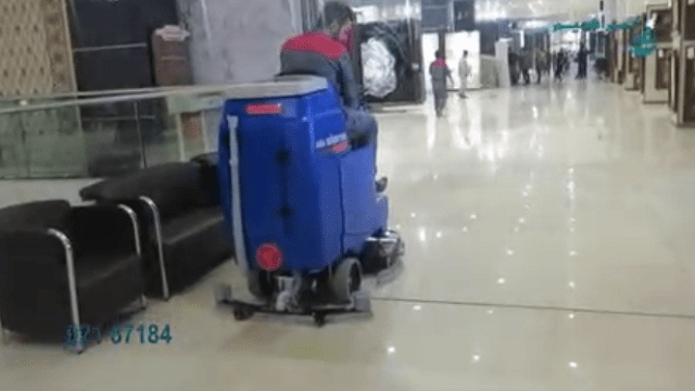 نظافت صنعتی فروشگاه با اسکرابر و مکنده صنعتی  - Industrial cleaning with industrial scrubber and vacuum cleaner