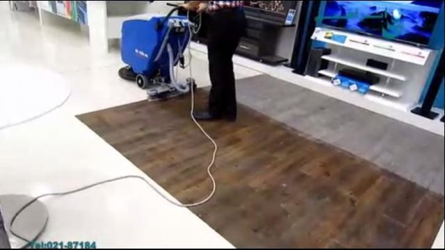 شستن کفپوش فروشگاه لوازم خانگی با اسکرابر  - use a floor scrubber for cleaning the Appliance stores