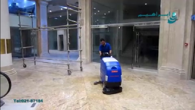 شستشو و نظافت کف پوش ها با اسکرابر  - Washing and scrubbing of floorboards
