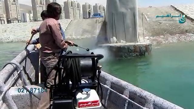 شستشوی دیواره های کنار دریاچه با واترجت صنعتی  - Wash the walls along the lake with industrial waterjet