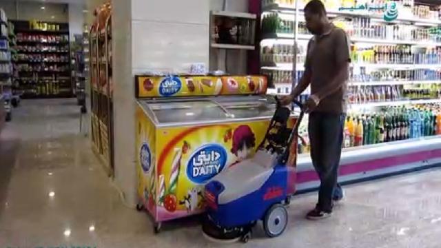 نظافت فروشگاه موادغذایی با اسکرابر  - Food shop cleaning with scrubber