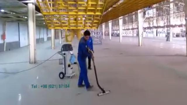 نظافت کفپوش اپوکسی با مکنده صنعتی  - Cleaning floor with industrial vacuum cleaner