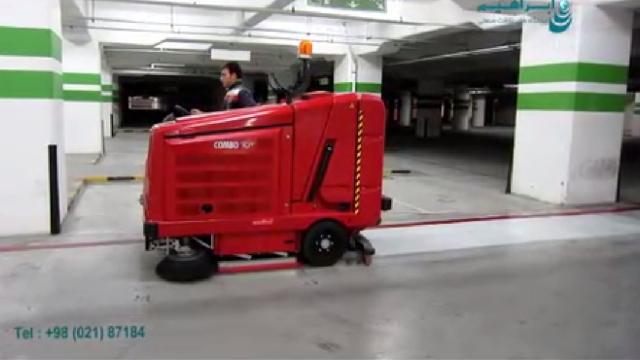 نظافت پارکینگ های وسیع با دستگاه سوییپر اسکرابر  - Parking extensive cleaning with sweeper scrubber