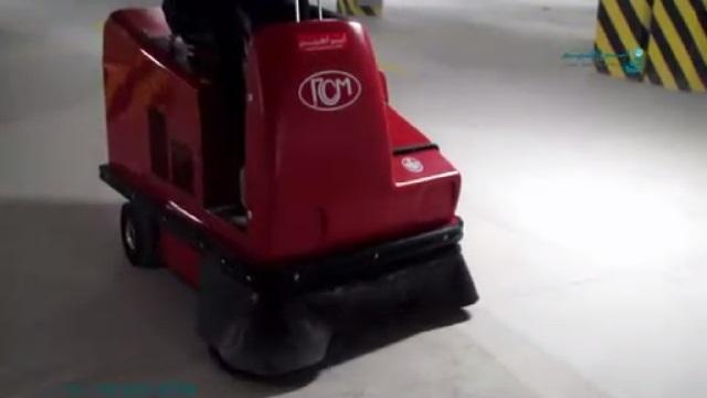نظافت پارکینگ با سویپر خودرویی  - cleaning the parking by ride-on floor sweeper