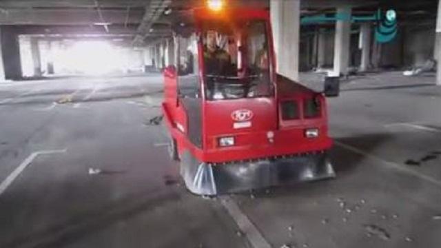 نظافت پارکینگ با سوییپر شهری  - Parking cleaning floor sweeper