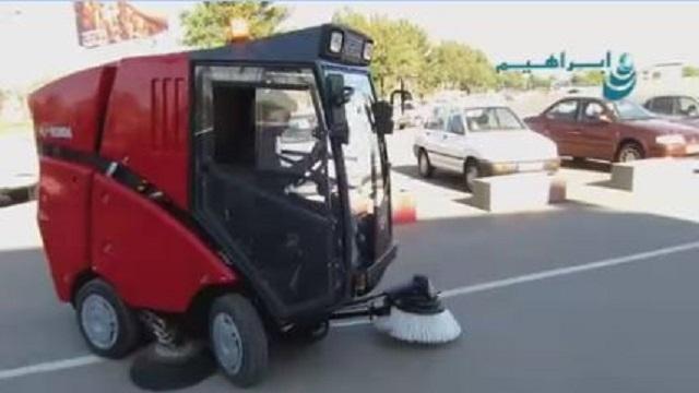 استفاده از جاروی شهری برای نظافت خیابان ها و امنیت پاک بانان  - Use sweeper clean streets clean safety dustman