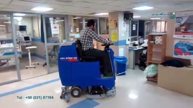 تمیز کردن حرفه ای بیمارستان ها با دستگاه اسکرابر  - Professional cleaning hospitals with scrubbers