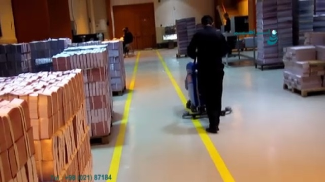 شستشوی محیط چاپخانه با اسکرابر  - cleaning the print shop by scrubber dryer