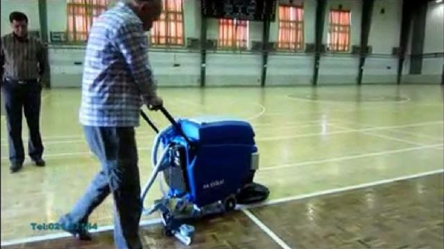 شستشوی سالن های ورزشی با دستگاه اسکرابر باتری دار  - use a battery power scrubber dryer for cleaning the sport hall